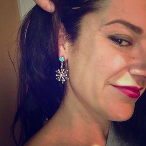 Betsy Johnson Snowflake Dangle Earrings